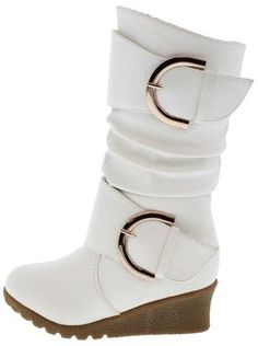 PURE66K WHITE BUCKLE WEDGE KIDS BOOT - Wholesale Fashion Shoes - 1