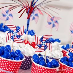 Mini pinwheels in itty bitty red white & blue candy cups ... oooh! ahhh!