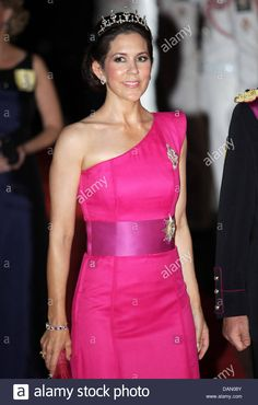 Crown Princess Mary of Denmark attends the official dinner on the Opera terraces after the religious wedding of Prince Albert II and Princess Charlene of Monaco in Monaco, 02 July 2011. 450 guests have been invited for the dinner followed by a ball in the Opera. Photo: Albert Nieboer Stock Photo