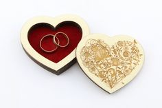 Wedding Rings Box Ring Bearer Box Engagement Ring Box Wooden Heart Rustic Handmade Personalized Laser Cut Engraved Anniversary