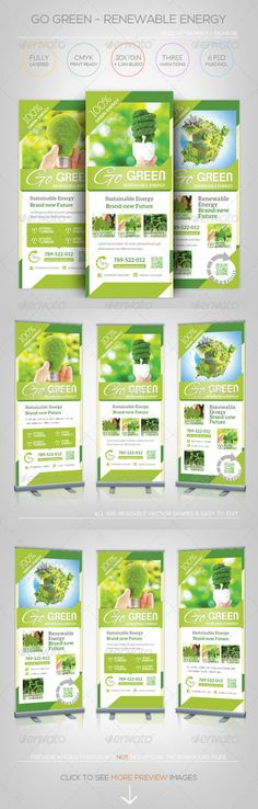 Buy Renewable Energy - Go Green - Roll-Up Banner by katzeline on GraphicRiver. [ Renewable Energy – Go Green – Roll-Up Banner ] in CMYK Print Ready. Creative Brochure, Creative Flyers, Brochure Design, Renewable Energy, Solar Energy, Rollup Banner Design, Roll Up Design, Elegant Business Cards, Sustainable Energy