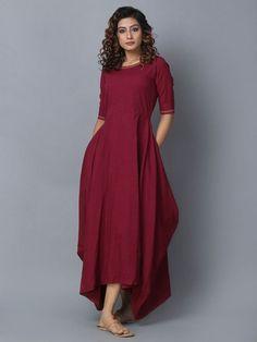 Maroon Cotton Linen Asymmetric Dress
