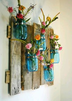 Flower Jars on a wooden board!