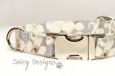 Wedding Dog Collar with Floral Victorian Gray Blue & White Flowers with Metal Buckle    This female/girl dog collar is such a simple statement of