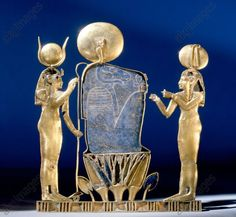 A pectoral depicting the birth of the sun from the burial of Queen Kama on Leontopolis mother of Osorkon III and possibly wife of Shoshenq IV, The ram headed god Khnum is flanked by the goddesses Hathor and Ma'at. Egypt. Ancient Egyptian 3rd Intermediate, 23rd Dynasty, c 890 BC. Now in the Egyptian Museum, Cairo.