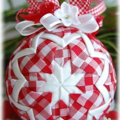 From a few years ago! #gingham #quiltedornament