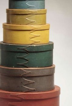 Color wheel for paint options for furniture pieces.  Antique Shaker band boxes.