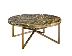 The Graffiti Cocktail Table by Alden Parkes | Hues of color swirled in highly polished acrylic finish on a polished stainless steel or a brass leaf finished base are the features of this modern cocktail table.