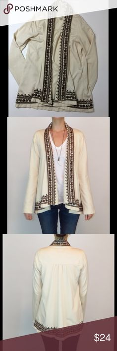 Lucky Brand embroidered open draped cardigan Gorgeous embroidered cardigan from Lucky Brand. Its super comfortable.. like a thin sweatshirt material. Worn twice in EUC.  *I'm in the process of listing hundreds of items.. mostly high end and all in EUC. HUGE CLOSET CLEAROUT!!! Lucky Brand Sweaters Cardigans