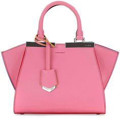 Fendi 3 Jours Mini Leather Satchel Bag, Pink