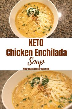 KETO Chicken Enchilada Soup is the perfect for dinner tonight.  It comes together in 30 minutes and it loaded with tons of flavor... trust me this will be a favorite for sure! . It is also KETO/Low Carb friendly!! . . #keto #lowcarb #soup #chicken #enchialda #sparklesnsprouts #recipe