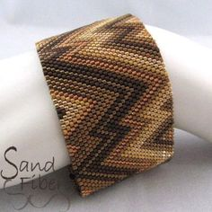 Peyote Pattern Golden Bronze Abstract Cuff / by SandFibers