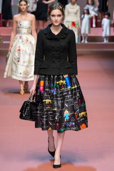 Dolce & Gabbana Fall 2015 Ready-to-Wear Collection. This really makes me smile. The only reason I might not actually wear it (on that hypothetical world where I could afford it and have somewhere to wear it to) is beacuse it would be so much cooler if it were my own children's drawings. :)