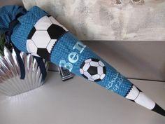 Schultüten - Schultüte Zuckertüte Fussball petrol Jungen - ein Designerstück von Lottanelli bei DaWanda