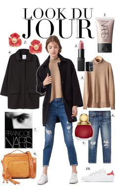 Look Du Jour: Narsissist!. Beige turtleneck sweater+ripped cropped denim+white sneakers+black coat+orange-brown handbag+earrings. Fall Casual Outfit 2016