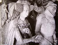 Katherine Malley (1384-1460), wife of Ralph Greene (he d. 1417) 1420, St Peter's Church, Lowick, Northamptonshire, England.