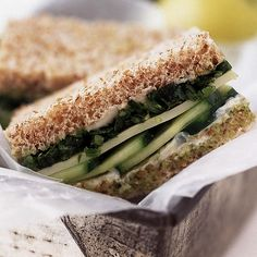 Cucumber sandwiches are not just for your grandmother's tea parties. Cucumbers are a staple in most of our favorite sammies. I add sprouts to mine too!