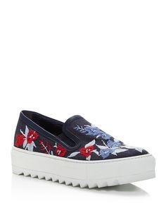 595.00$  Buy here - http://vifdu.justgood.pw/vig/item.php?t=ee1s8343469 - Salvatore Ferragamo Egla Embroidered Denim Platform Slip-On Sneakers 595.00$