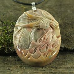 CA02000#  Succor Creek Jasper  Pendant, Carved Cameo Dragon Head Necklace with a Sterling Silver Clasp,Handmade Animal Jewelry, Men Bead