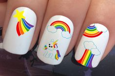 nail art set #677 x 20 rainbow cloud baby unicorn water transfer decals stickers manicure set by Nailiciousuk on Etsy
