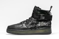 A tiger stripe camo design appears on the new mid-top version of the war-ready Nike SF-Air Force 1.