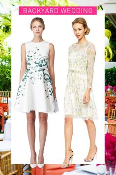 Floral Fit-and-Flare Dress, ERIN FETHERSTON, $325; Floral Overlay Midi Dress, FROCK AND FRILL (Available at Asos), $299
