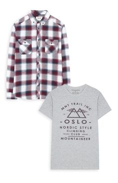 Gray T-Shirt & Checked Shirt