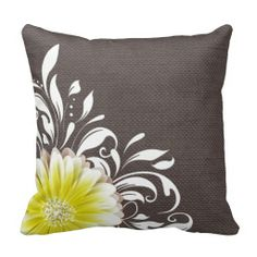 Gorgeous flower with White Swirls! Gerbera #Daisy Scroll Burlap 1 yellow charcoal Throw #Pillow by glamprettyweddings #FlowerGift