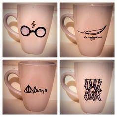 Harry Potter nerd coffee mug set http://www.etsy.com/shop/KynasKreations $25