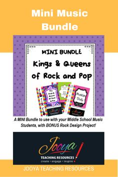 Mini Music Bundle from Jooya Teaching Resources. Kings and Queens of Rock and Pop unit of work AND musician study are included in the mini bundle. As a bonus the Rock Music Design Project is also included!