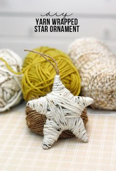 Easy DIY Yarn Wrapped Star Ornament.  Great for gifting too.  Tutorial at http://livelaughrowe.com