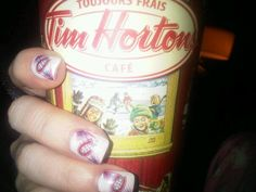 Montreal Canadiens nails with a classic Timmy Ho's cup... here's another way to use decals