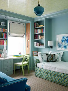 Bedroom idea - I especially love the raised bookcases, leaving room for dresser or desk underneath.