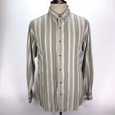 Tommy Bahama Button Front Dress Casual Shirt Mens size XL 100% Silk Striped #TommyBahama #ButtonFront