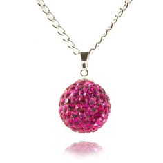 Lemonade Crystal Ball Necklace Hot Pink - 4EverBling