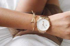 lumiant: MVMT WATCHES // women's white rose gold watch