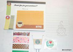 Starbucks Inspired Coffee and Donut Sample Set on Etsy, $3.75