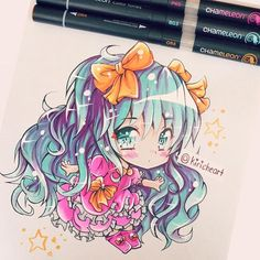 @kiricheart their amazing blue haired manga chibi illustration