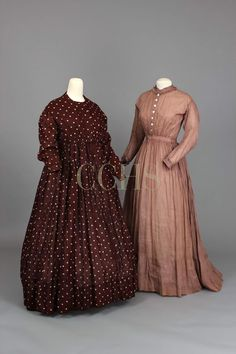 DRESS, (left) DRESS, (right) Dress, (right) Mauve striped cotton On permanent loan from the Friends . Summer Day Dresses, Dresses For Work, Dress Work, Historical Clothing, Historical Society, Historical Dress, 1800s Clothing, Victorian Fashion, Vintage Fashion