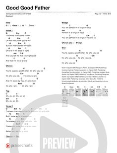 Piano Chords Chart Zealand - Good Good Father Chord Chart in G Ukulele Chords Songs, Easy Guitar Songs, Guitar Chords For Songs, Lyrics And Chords, Piano Songs, Music Guitar, Piano Music, Guitar Tips, Christian Ukulele Songs