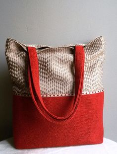 Bag with red accent large shoulder bag  red tote by IrisBags