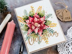 Watercoloured Christmas Bouquet by limedoodle - at Splitcoaststampers Gold Christmas, Christmas Wishes, Beautiful Christmas, Christmas Cards, Christmas 2019, Poinsettia Cards, Doodle Designs, Card Designs, Paper Crafts