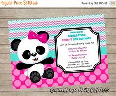 Items similar to Cute Panda Bear Printable Birthday Invitation ~ Personalized with Your Party Details ~ Digital Print Yourself ~ Girls Birthday Party on Etsy Panda Themed Party, Panda Birthday Party, Panda Party, 9th Birthday, Girl Birthday, Panda Love, Cute Panda, Panda Bear, Bolo Panda
