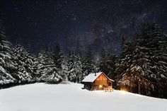 Breathtaking winter photo stunning starry skies snow & cabin Canadian skies#Camping #nature #naturephotography #Winter #snow #travel #vacation #mountains #outdoors #riverside #mountainpeaks #naturewalks #trees #lifestyle