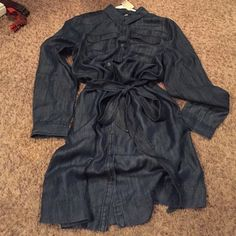 Just Reduced! Denim shirt dress by Loft I bought on sale, didn't try it on, when I put it on to wear it was too big. My loss is your gain! Soft denim shirt dress perfect with boots for work or play. Size is large Petite (12) LOFT Dresses