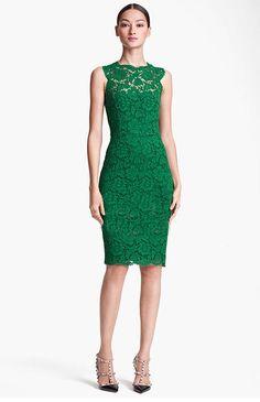 Morpheus Boutique  - Green Lace Hollow Out Sleeveless Celebrity Pencil Hem Dress