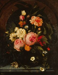 Still Life with Flowers, Insects and a Shell, 1689, Royal Collection. Van Oosterwijck's last known painting.