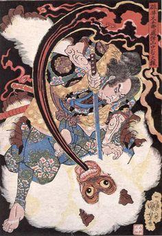 (Image of ukiyo-e master Utagawa Kuniyoshi-end of the Edo period) Usui Matagoro Hida mountains two strokes large monkey wo Japanese Artwork, Japanese Painting, Japanese Prints, Folklore Japonais, Art Japonais, Tattoo Samurai, Samurai Art, Samurai Drawing, Japan Illustration
