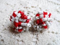 Vintage RED & WHITE Tiny Cut Joined Plastic Clip On Earrings  via Orphaned Treasures Etsy
