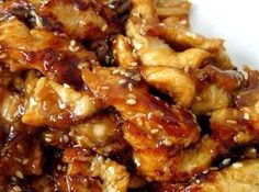 Slow cooker Sesame Chicken Recipe: 1 1/2 lb 	boneless/skinless chicken breasts 1/2 c 	honey 1/4 c 	soy sauce 2 Tbsp 	dried onion 2 Tbsp 	ketchup 1 Tbsp 	oil 1/2 tsp 	garlic powder 2 tsp 	cornstarch dissolved in 3 tablespoons water 	sesame seeds
